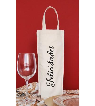 """Bolsa botella """"Felicidades""""."""