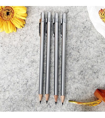Silver wooden pencil with metal clip Divine-Desing