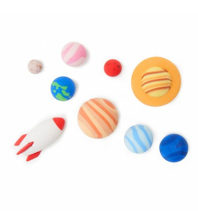Set of 9 rubber solar system.