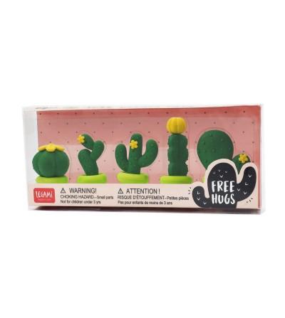 Set of 5 cactus erasers. Legami